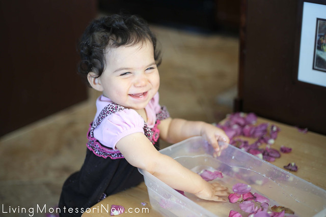 Fun with the Rose Petal Sensory Bin