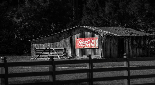 old red bw barn fence photography unitedstates florida coke cocacola tallahassee selectivecolor hff sigma70200 sonyalpha woodvillehwy happyfencefriday sonyslta99 kimmienflorida