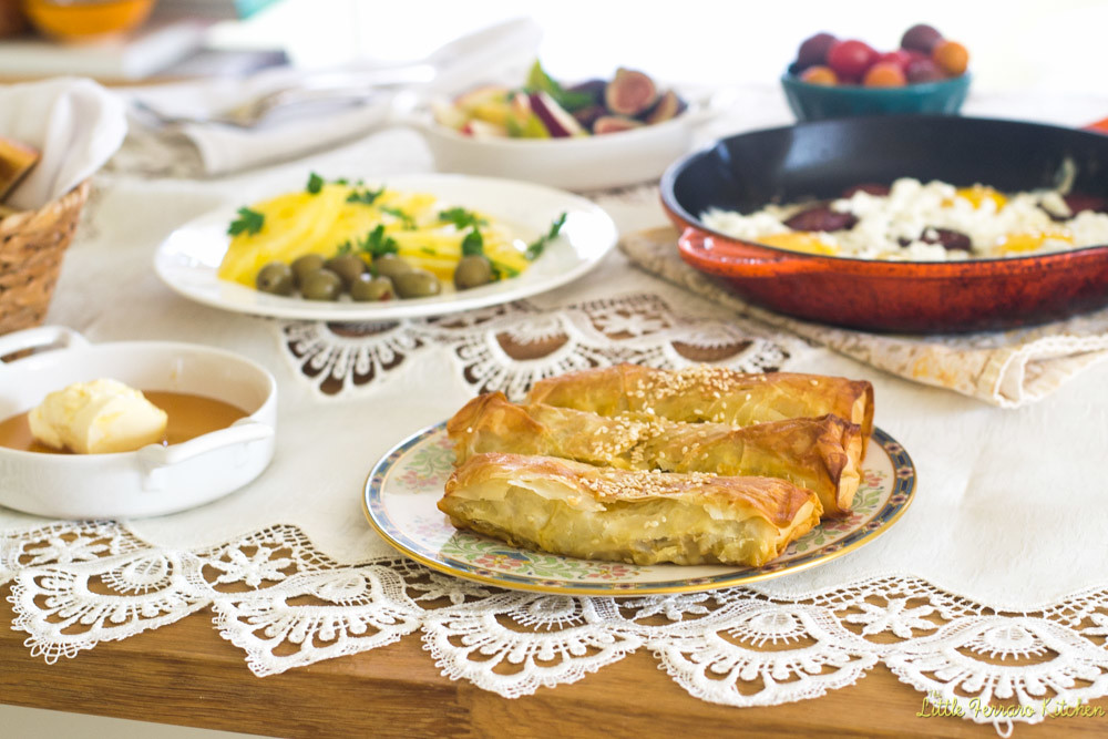 Turkish Breakfast with Eggplant Borek via LittleFerraroKitchen.com