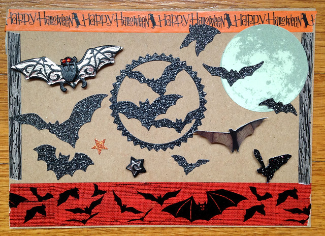 Bat-themed Halloween postcard swap, front