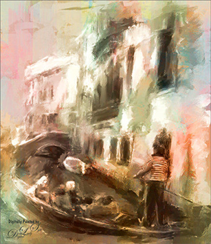 Painted image of a gondola in Venice