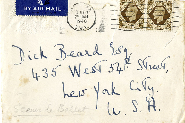Crop of the envelope of Frederick Ashton's letter to Richard Beard, 29 January 1948. Reproduced with permission of Anthony Russell Roberts