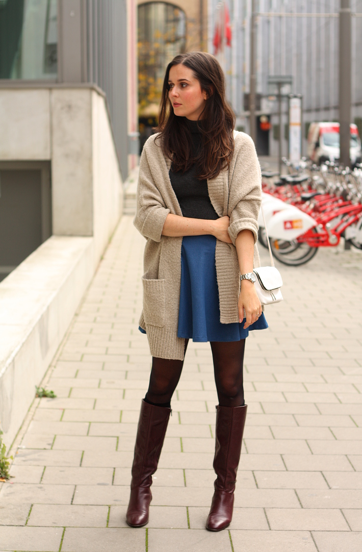 knee high vintage boots skater skirt