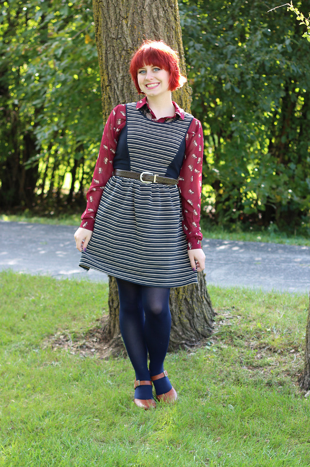 Maroon Cat Print Button Down, Striped Dress, Navy Blue Tights, and Brown Clogs