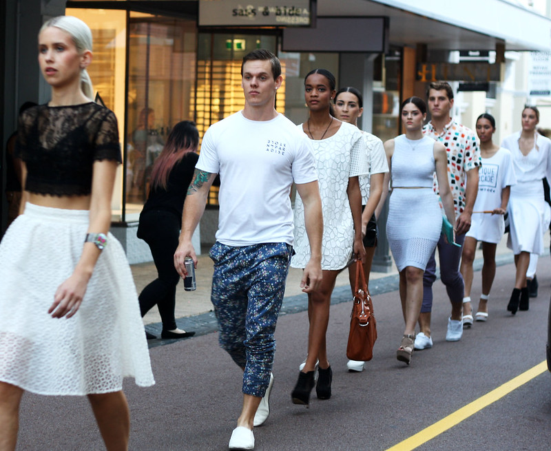Models on King street for The Clique Arcade launch