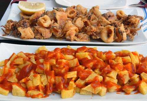 Patatas Bravas and Deep-fried Squid