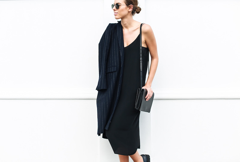 modern legacy fashion blog Australia pinstripe Zara coat street style Topshop cami silk slip dress Senso navy loafers Alexander Wang Envelope Prisma bag (4 of 10)