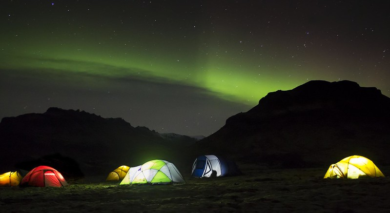 Camping Under Northern Lights in Iceland