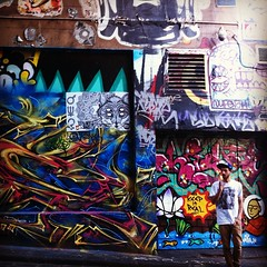 Smells of aerosols & spray paint in the air at Hosier Lane, Melbourne's #streetart centre