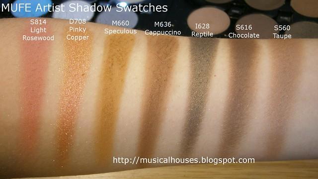 MUFE Artist Shadow Eyeshadow Swatches 2 Row 2