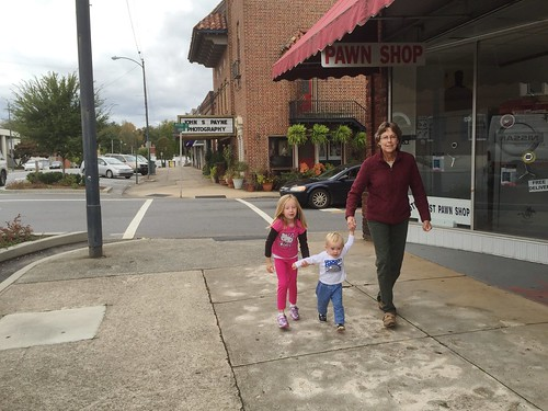 Walking with Grandma in Downtown Morganton