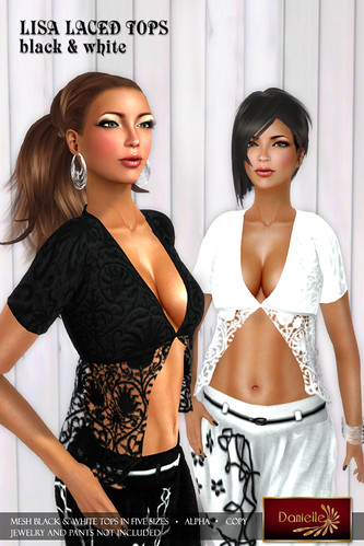 DANIELLE Lisa Laced Tops Black And White