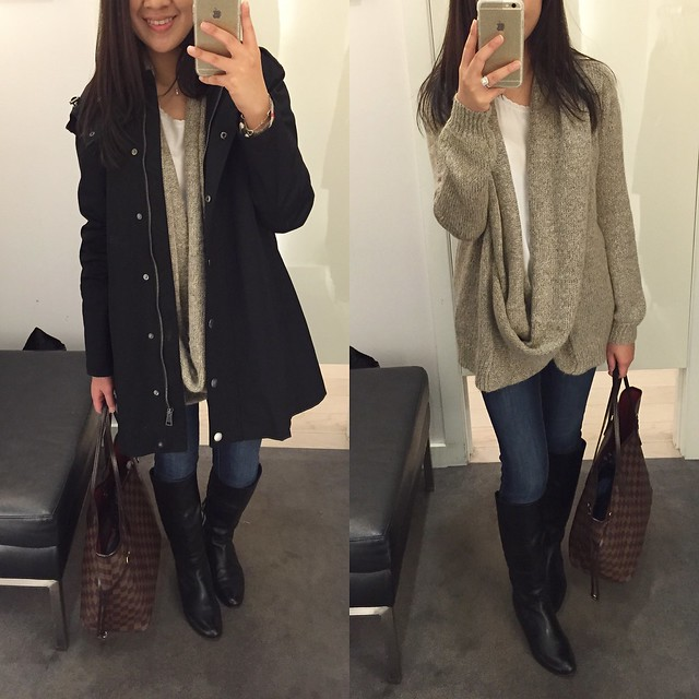 Burberry Bowpark Rain Jacket, size 2; Forever 21 Draped Attached-Scarf Cadigan, size XS (Love 21)