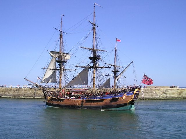 The replica of HMS Endeavour sailing from Whitby Harbour