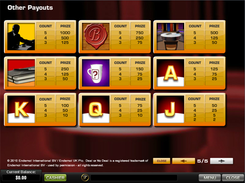 free Deal or No Deal slot payout