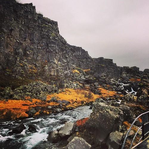 Tingvalla nationalpark på Island. Världens äldsta ting + gränsen mellan de amerikanska och euroasiatiska tektoniska plattorna