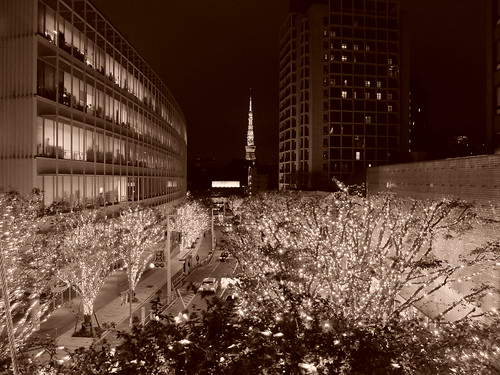 FUJIFILM X30 night scene illumination SNOW&BLUE Film Simulation Monochrome Sepia