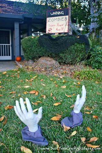 zombie attack halloween decor. Zombie eat brains!