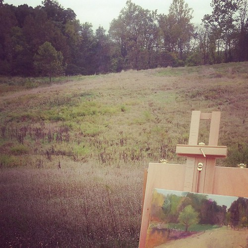 Plein air oil study. Looks like it's going to rain, better pack up. The birds gave been singing mournful calls all morning. Being outside connects me to me