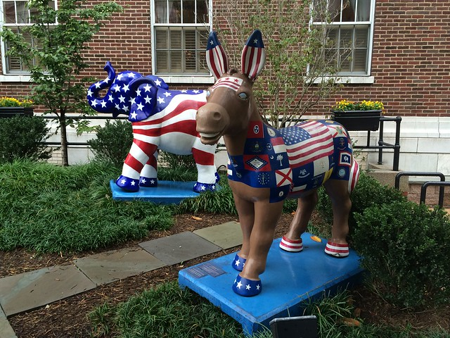 Patriotic elephant and donkey statues