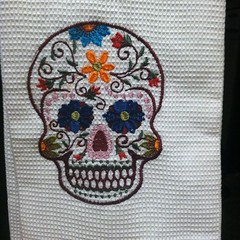 art, pattern, textile, needlework, embroidery, design, skull,