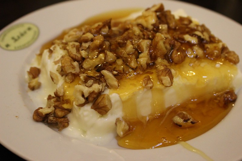 Greek yogurt with honey and nuts