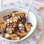 Fusilli with red radicchio, feta cheese and nuts