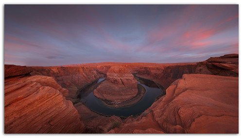 arizona panorama sunrise river colorado page horseshoe alpenglow