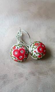 Dancing Red Flowers Earrings Stories made by hands silver red earrings