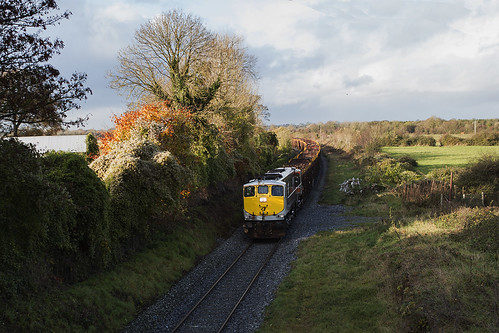086 on Mayo-Waterford timber train at Clonygowan 07-Nov-14