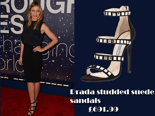 Cameron Diaz in Prada studded suede sandals