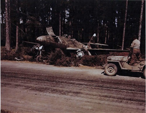 Captured Me-262 serial No 111685, from Jagdverband 44 (JV 44) of the Luftwaffe in a  forest near Hofoldinger 1945.