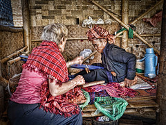 Lovely local lady weaving shawls in Ah Shay Phwar Saw village