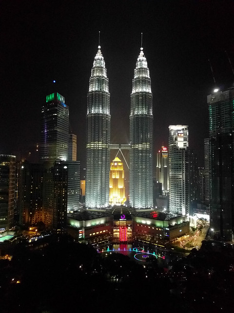 view of the Petronus Towers from SkyBar