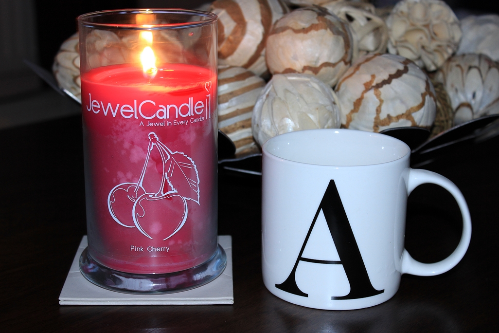 JewelCandle Pink Cherry Candle Review & Alphabet Letter Mug Cup