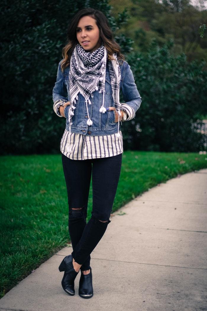 denim jacket. distressed black skinny jeans. fall layers. casual fall style. andrea viza. va darling. dc style fashion blogger. fashion blogger.3
