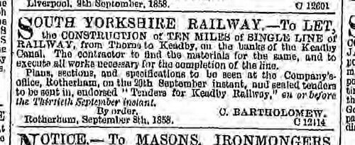 South Yorkshire railway Construction Leeds Mercury Saturday 11 September 1858