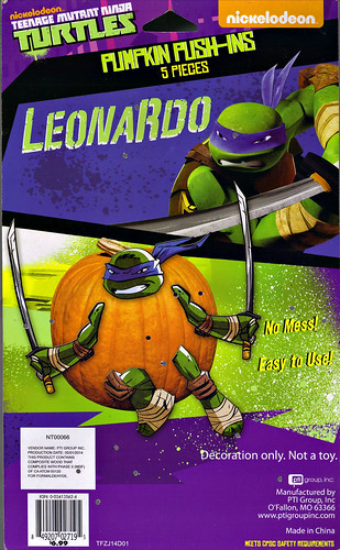 "PTI Group :: Nickelodeon  TEENAGE MUTANT NINJA TURTLES;  ""LEONARDO""  PUMPKIN PUSH-INS / ..card backer  (( 2014 ))"