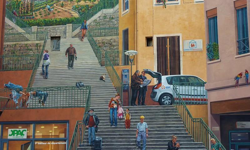 Lyon, fresque des canuts, détail