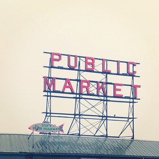 A rainy day at Pike's Place. There was actually no line at the (first) Starbucks, so I finally made it inside!