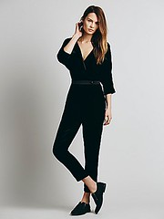 cruel intentions black velvet line & dot jumpsuit