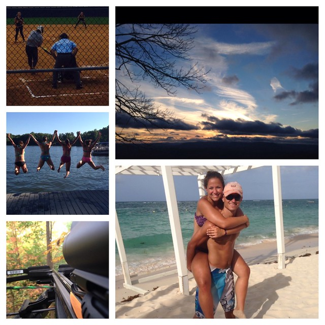 My sanctuaries: softball field, Lake Anna, in the tree stand, in the mountains, at the beach, and with my boyfriend ❤️