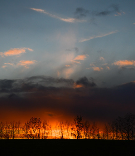 blue trees sunset sky orange fall clouds glow horizon