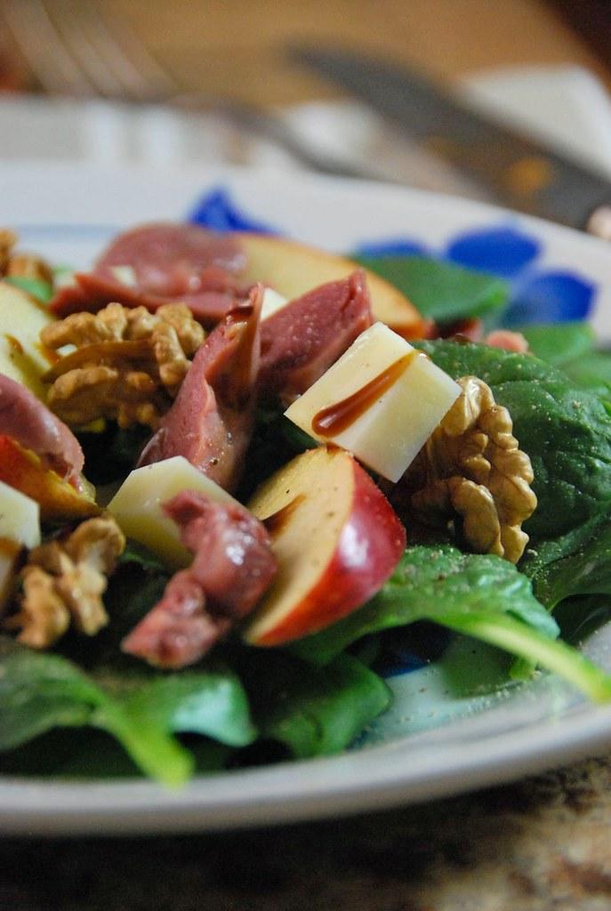 Salade composée d'automne aux épinards et gésiers