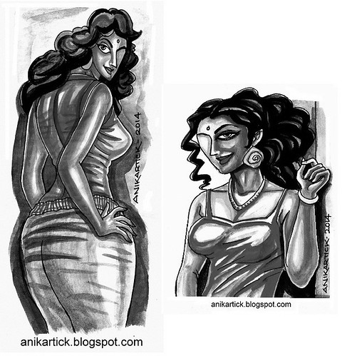 FASHION DESIGN SKETCHES - FASHION GIRLS - FASHION DESIGNER DRAWINGS and SKETCHES - B/W DRAWINGS - Artist Anikartick,Chennai,TamilNadu,India