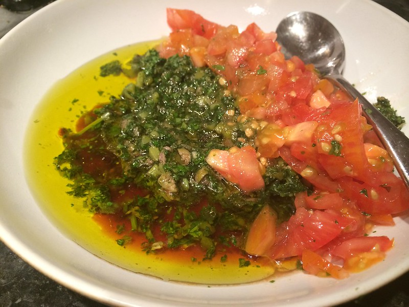 Salsa Verde : Add the olive oil and red wine vinegar