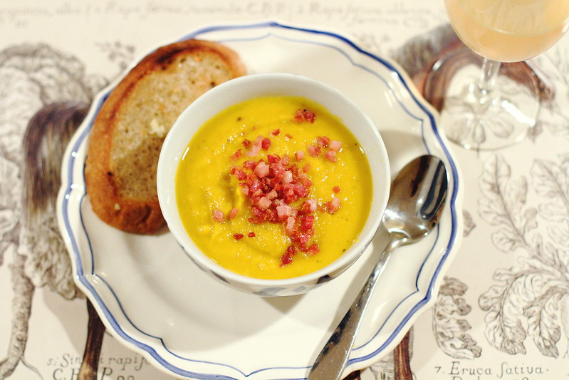 Sunday Dinner: Pumpkin Soup with Honey, Sage, and Pancetta