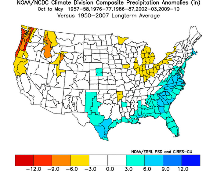 Composite precipitation anomalies