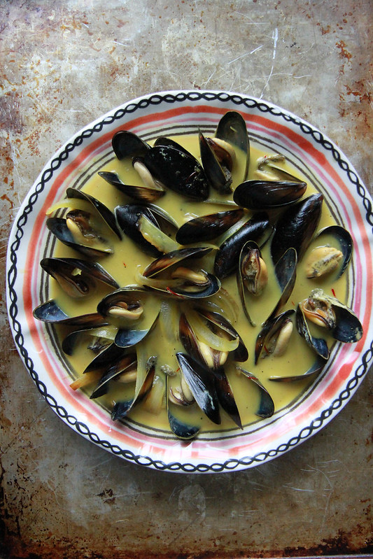 Mussels in Saffron Coconut Broth