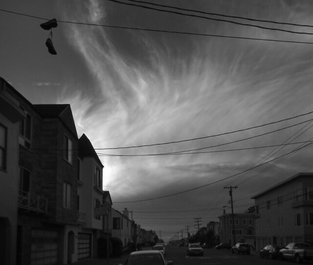 altocirrus clouds, late afternoon POV Irving St; The Sunset, San Francisco (2014)